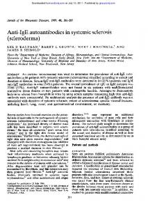 Anti-IgE autoantibodies in systemic sclerosis ...