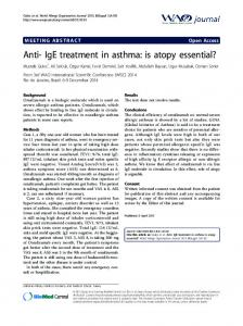 Anti- IgE treatment in asthma: is atopy essential? - Springer Link