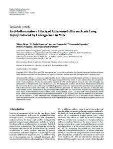 Anti-Inflammatory Effects of Adrenomedullin on Acute Lung Injury ...
