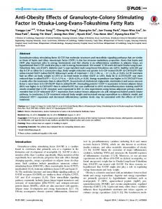 Anti-Obesity Effects of Granulocyte-Colony Stimulating Factor in ...