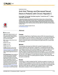 Anti-Viral Therapy and Decreased Sexual Desire