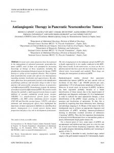 Antiangiogenic Therapy in Pancreatic Neuroendocrine Tumors