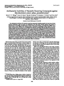 Antibacterial Activities of Naturally Occurring Compounds against ...