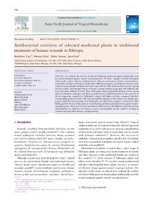 Antibacterial activities of selected medicinal plants in