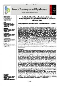 Antibacterial activity, antioxidant activity and micropropagation of ...