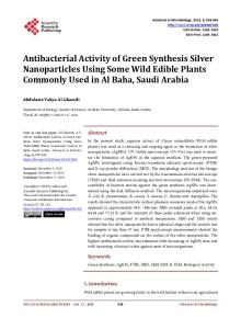Antibacterial Activity of Green Synthesis Silver Nanoparticles Using
