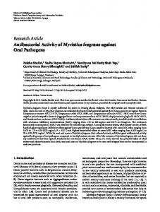 Antibacterial Activity of Myristica fragrans against Oral Pathogens