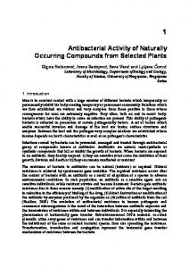 Antibacterial Activity of Naturally Occurring Compounds ... - InTechOpen