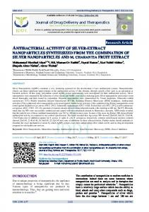 antibacterial activity of silver-extract nanoparticles synthesized from ...