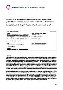Antibacterial activity of silver nanoparticles obtained by ... - FloRe - UniFI
