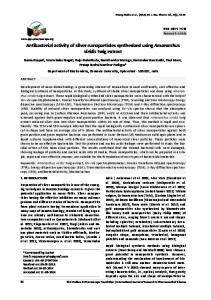 Antibacterial activity of silver nanoparticles synthesized using