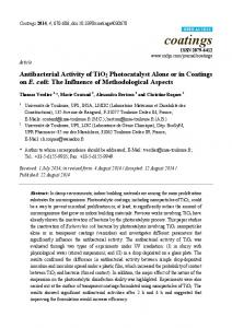 Antibacterial Activity of TiO2 Photocatalyst Alone or in Coatings ... - MDPI