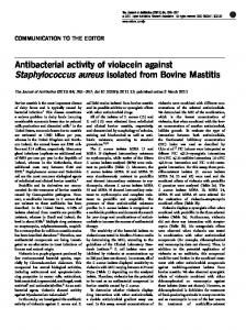Antibacterial activity of violacein against Staphylococcus ... - Nature