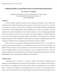 Antibacterial Effect of Some Plant Extracts on Selected ... - CiteSeerX