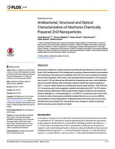 Antibacterial, Structural and Optical Characterization of ... - PLOS