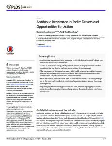Antibiotic Resistance in India - PLOS