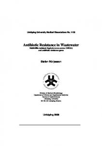 Antibiotic Resistance in Wastewater
