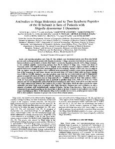 Antibodies to Shiga Holotoxin and to Two Synthetic Peptides of the B ...