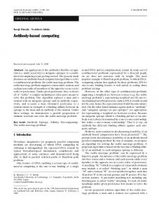 Antibody-based computing - Springer Link