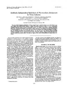 Antibody-Independent Inhibitionof Plasmodium falciparum In Vitro