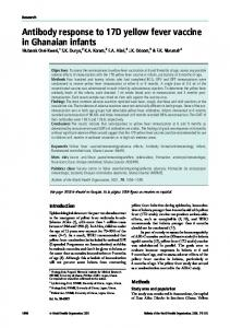 Antibody response to 17D yellow fever vaccine in Ghanaian infants