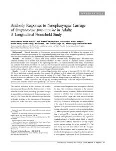 Antibody Responses to Nasopharyngeal Carriage of ... - CiteSeerX
