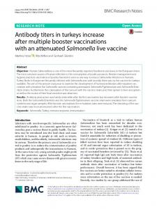 Antibody titers in turkeys increase after multiple