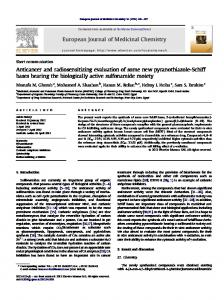 Anticancer and radiosensitizing evaluation of some ...