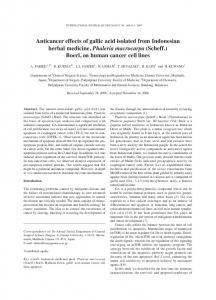 Anticancer effects of gallic acid isolated from