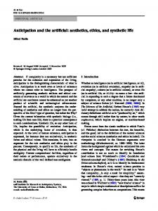 Anticipation and the artificial: aesthetics, ethics, and ... - Mihai Nadin
