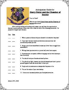 Anticipation Guide for Harry Potter and the Chamber - Novelinks.org