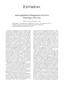 Anticoagulation Management Services: Entering ... - Wiley Online Library