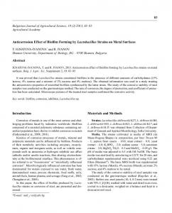 Anticorrosion Effect of Biofilm Forming by Lactobacillus Strains on ...