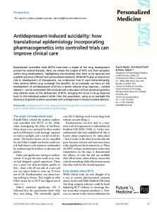 Antidepressant-induced suicidality: how ... - Future Medicine