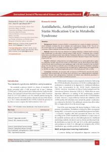 Antidiabetic, Antihypertensive and Statin Medication ...