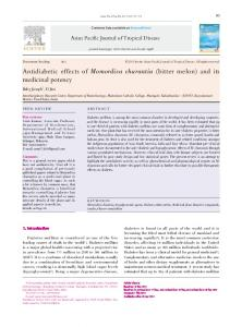 Antidiabetic effects of Momordica charantia (bitter melon) and its ...