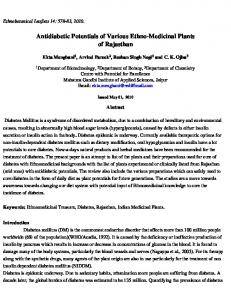 Antidiabetic Potentials of Various Ethno-Medicinal Plants ... - OpenSIUC