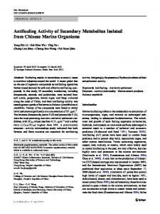 Antifouling Activity of Secondary Metabolites Isolated ...
