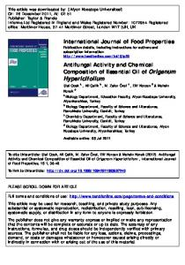 Antifungal Activity and Chemical Composition of ...
