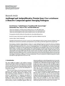 Antifungal and Antiproliferative Protein from Cicer arietinum: A ...