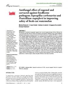 Antifungal effect of eugenol and carvacrol against ... - CiteSeerX