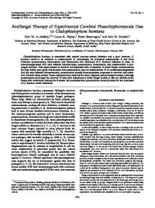 Antifungal Therapy of Experimental Cerebral Phaeohyphomycosis ...