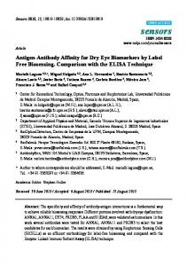 Antigen-Antibody Affinity for Dry Eye Biomarkers by Label Free ...