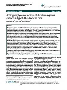 Antihyperglycemic action of rhodiola-aqeous extract in type1-like ...