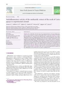 Antiinflammatory activity of the methanolic extract of the seeds of
