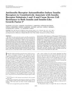 Antiinsulin Receptor Autoantibodies Induce Insulin Receptors to ...