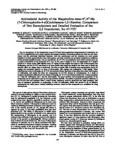 Antimalarial Activity of the Bisquinoline trans-N1,N2-Bis (7