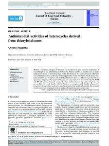 Antimicrobial activities of heterocycles derived from ... - CyberLeninka