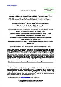 Antimicrobial Activity and Essential Oil ... - ACG Publications