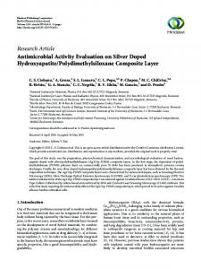 Antimicrobial Activity Evaluation on Silver Doped Hydroxyapatite ...